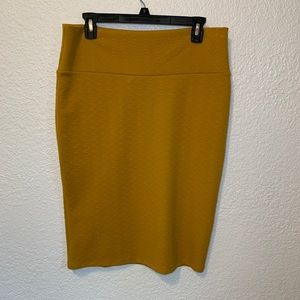 LuLaRoe Mustard Textured Cassie Pencil Skirt